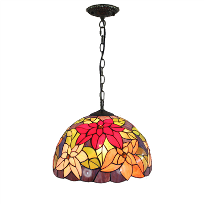 PL120012-12 Flower Tiffany Style Pendant Lamp stained glass 30 x 25 cm