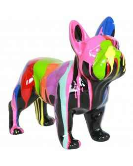 DHC66  France bulldog hond  zwart of wit multicolor drop 60 x90 cm