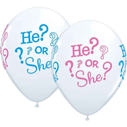 Ballon met tekst He? or She?