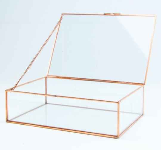 *Giftbox Rechthoek Glas Small - rozegold