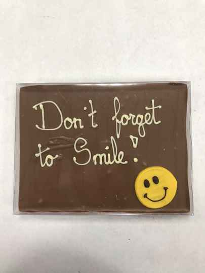 Chocoladetegel 'Don't forget to smile'