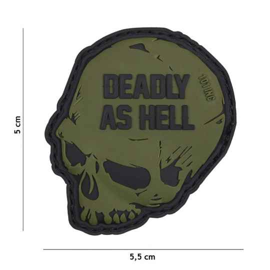 EMBLEEM 3D PVC DEADLY AS HELL GROEN