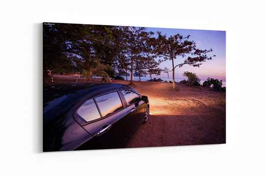 Car with sunset