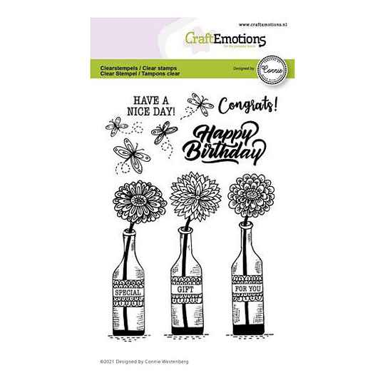 CraftEmotions - clearstamps A6 - Flessen - Special gift for you