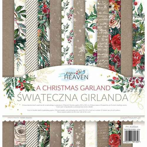 """Paper Heaven - Paper Collection Set - 12"""" - A Christmas Garland, gold print"""
