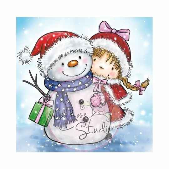 Wild Rose Studio - Clear Stamp - Girl and Snowman