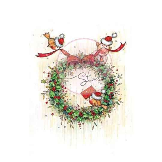 Wild Rose Studio - A7 - Clear Stamp - Christmas Wreath