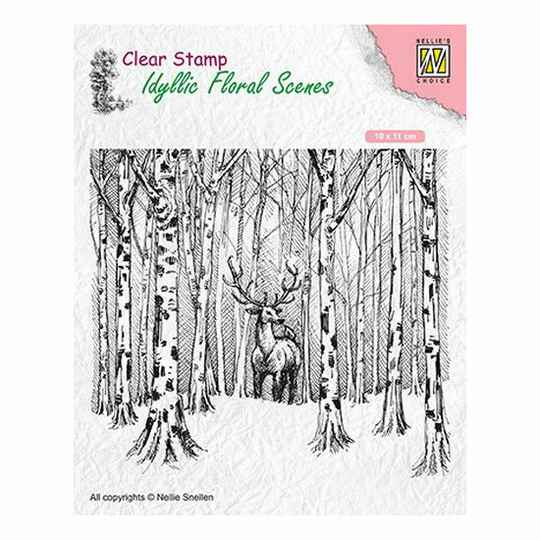 Nellie's Choice - Clearstamp - Idyllic Floral Scenes - Hert in het bos