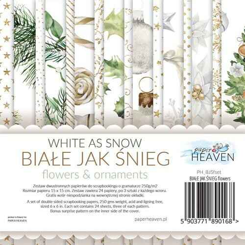 """Paper Heaven - Paper Collection Set - 6"""" - White As Snow - Flowers and Ornaments"""