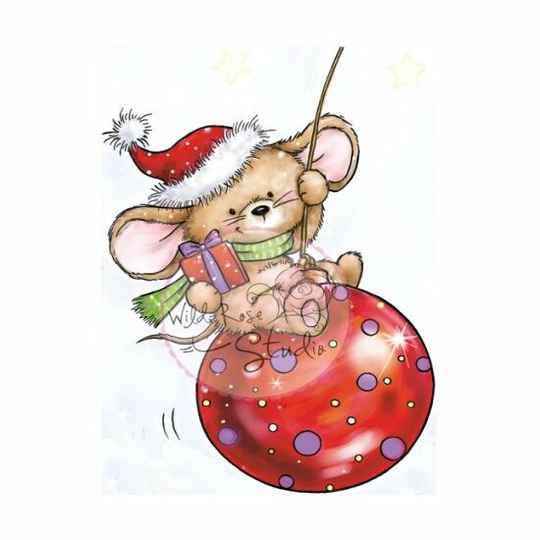 Wild Rose Studio - Clear Stamp - Mouse on bauble