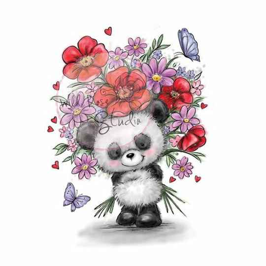 Wild Rose Studio - Clear Stamp - Panda with flowers