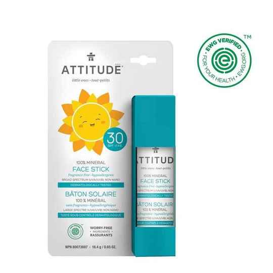 Attitude Little Ones Kinderzonnebrand Gezicht en Lip Stick SPF 30 Geurvrij