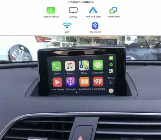 Apple Carplay Voor Audi Q3 A1 Met Rmc/3G Mmi Ondersteuning Auto Play Android Auto Spiegel Link front Reverse Camera Adapter