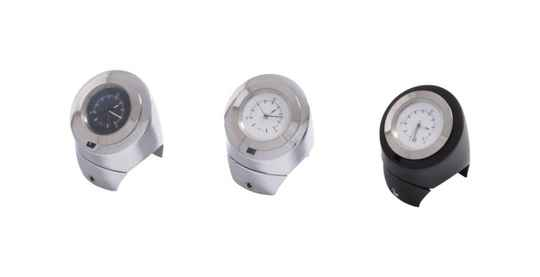 """54-261 - Chromed Handdlebar watch, (White watch) 25mm (1inch) and 32mm (1 1"""")"""