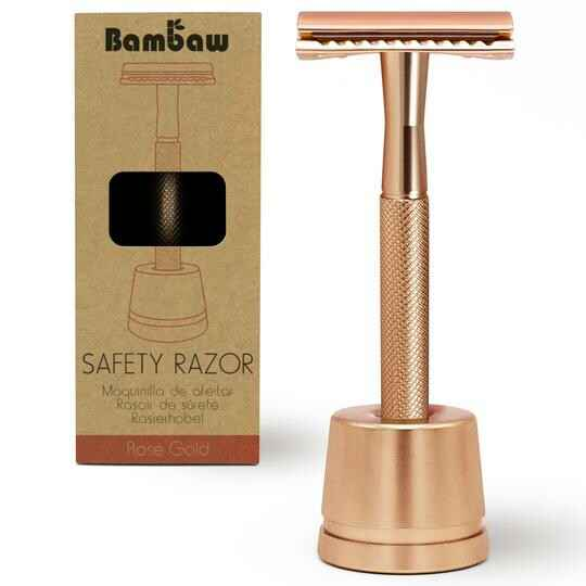 Safety razor zero waste - rvs scheermes + standaard - rose gold