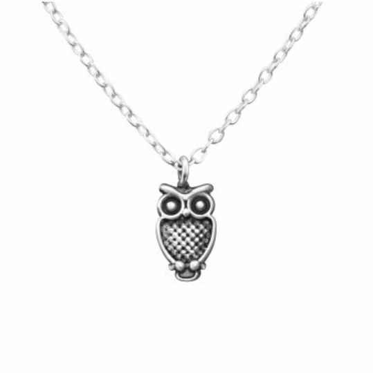 Ketting uil (zilver 925)