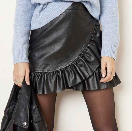 Rok leather ruffle