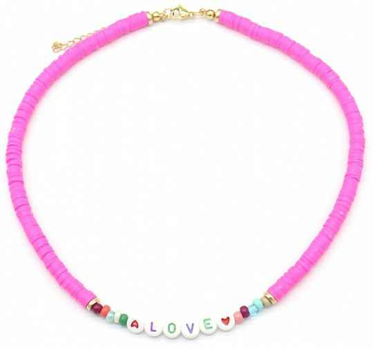 Love Surff Necklace Pink