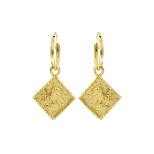 Karma Hoops Symbols Square Coin Goldplated