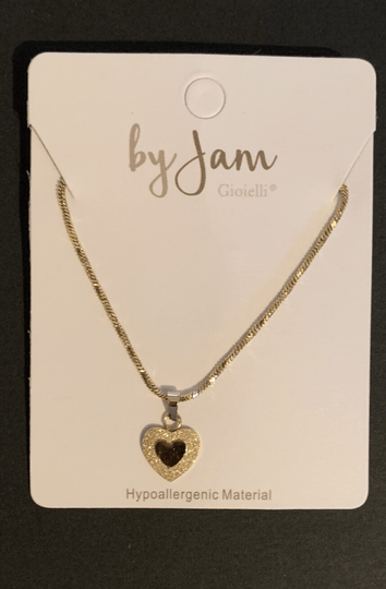 By jam ketting sandblasted heart goud