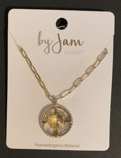 By jam ketting taupe heart goud