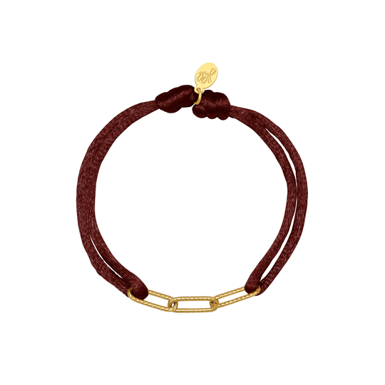 Yehwang armband Satin Chains darkred/goud