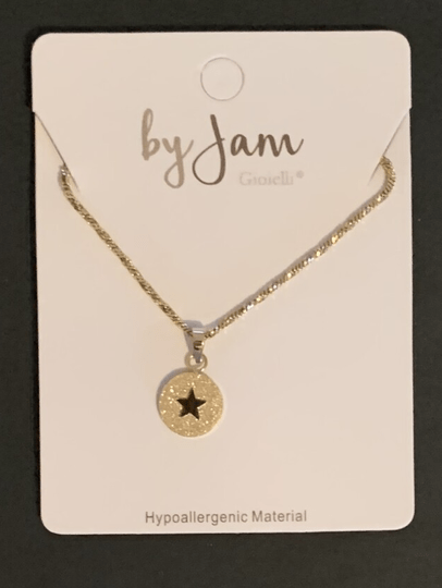 By jam ketting sandblasted star goud