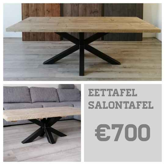 Eettafel + salontafel steigerhout Matrix spinpoot