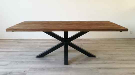 Eettafel Dark Oak matrix / spinpoot metaal