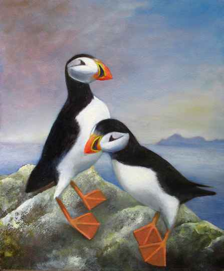 Puffins | Denise van der Burgh | Oil on Canvas