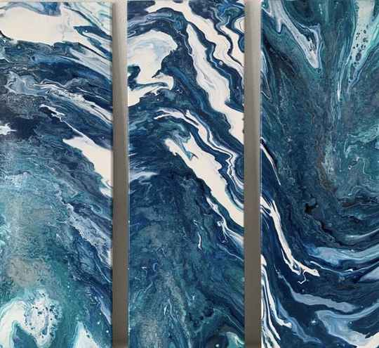 Triptych in Blue | Els Kampert | Acrylic op Canvas
