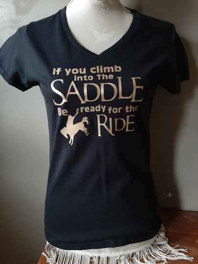 Dames T-shirt ' if you climp into......'