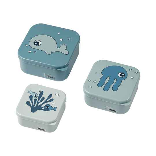 Done by deer snack box set 3 pcs. Sea Friends - Blauw
