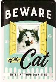 metaal plaat 'beware of the cat'