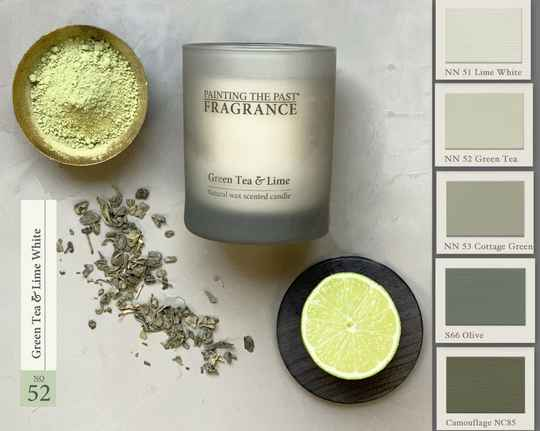 Green Tea & Lime White - Geurkaars - Fragrance Painting The Past