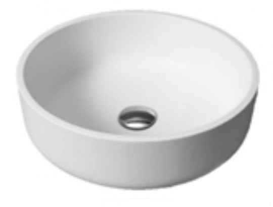 Opbouw wastafel solid surface rond 40 cm mat wit