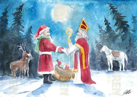 Card - Santa meeting Saint Nicholas