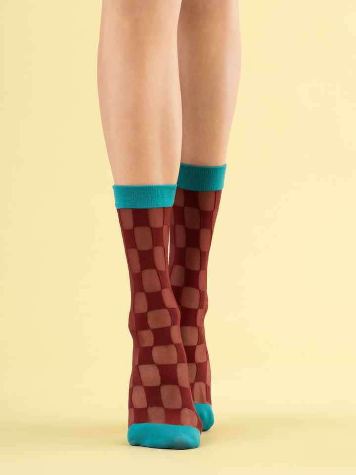 Fiore dames sokken Check Twice 20DEN, met checkerboard patroon, Bordeaux/turquoise, one size