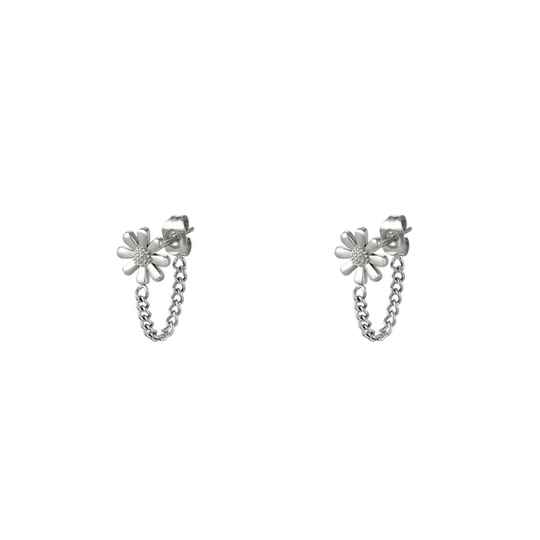 Flower and chain - zilver