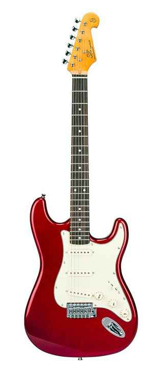 SX Guitars SST62CAR Stratocaster Model Candy Apple Red