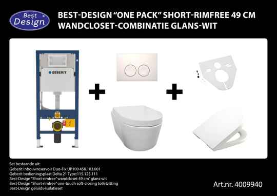 "Best-Design ""One-pack"" Short-Rimfree 49 cm wandcloset-combinatie Wit"