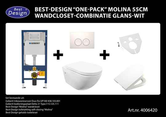 "Best-Design ""One-pack"" Molina 55cm wandcloset-combinatie Wit"