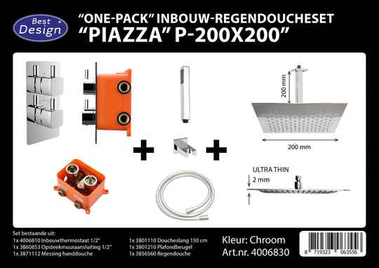 "Best-Design ""One pack"" inbouw-regendoucheset & Inb.box ""Piazza vierkant P-200x200"""