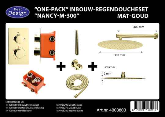 "Best-Design ""One-Pack"" inbouw-regendoucheset ""Nancy-M-300"""