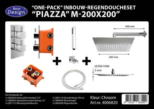 "Best-Design ""One pack"" inbouw-regendoucheset & Inb.box ""Piazza vierkant M-200x200"""