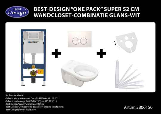 "Best-Design ""One pack"" Super 52 cm wandcloset-combinatie wit"