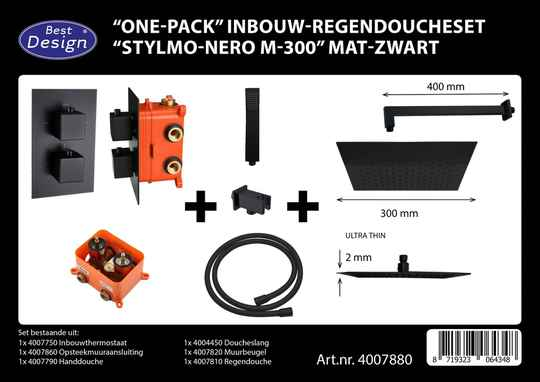 "Best-Design ""One-Pack"" inbouw-regendoucheset ""Stylmo-Nero M-300"" mat-zwart"