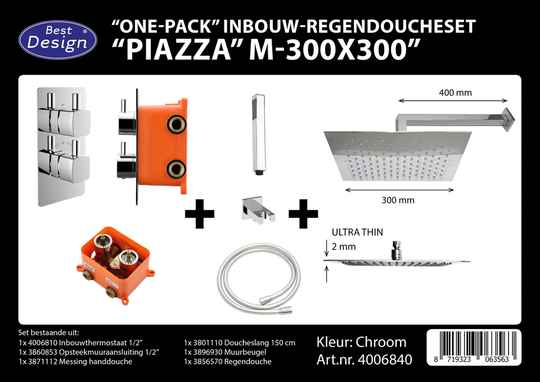 "Best-Design ""One pack"" inbouw-regendoucheset & Inb.box ""Piazza vierkant M-300x300"""