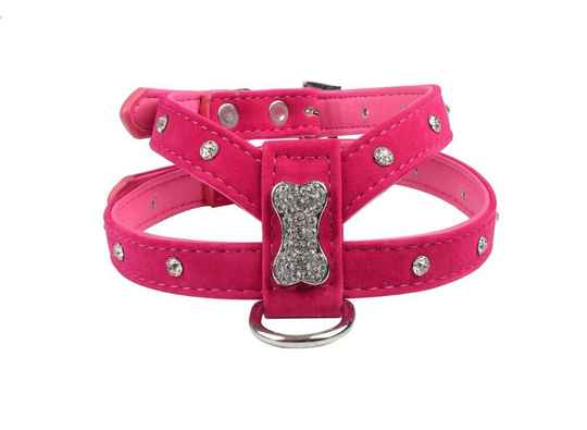 ARTIFICIEEL LEDER HARNAS BIG STRASS BONE FUSHIA