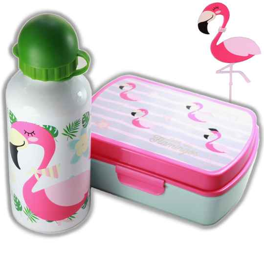 Lunchset Flamingo wit